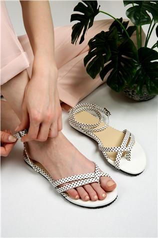 Bayan Çapraz Parmak Sandalet  - 7008 BEYAZ PUANLI  #297343