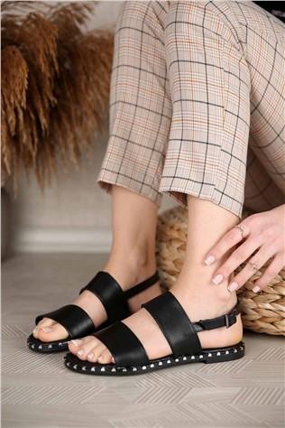 Kadın 2 Bantlı Sandalet SİYAH CİLT  #299590