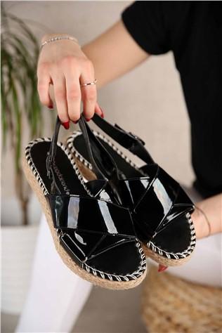 Kadın Çapraz Bantlı Sandalet SİYAH RUGAN  #301052