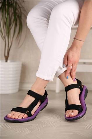 Kadın Cırtlı Sandalet SİYAH MOR  #302223