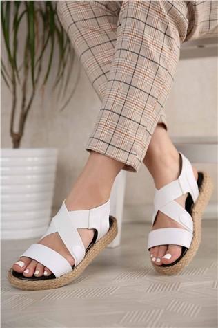 Kadın Lastikli Sandalet BEYAZ CİLT  #301058