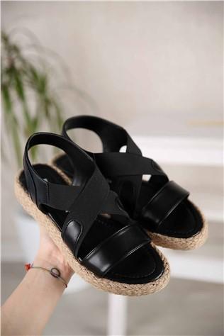 Kadın Lastikli Sandalet SİYAH CİLT  #301057