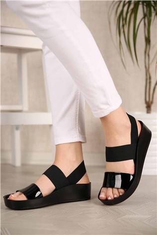 Kadın Lastikli Sandalet SİYAH RUGAN  #299938